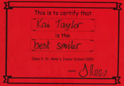 Best Smiler certificate